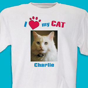 I Love My Cat Personalized Photo T-shirt