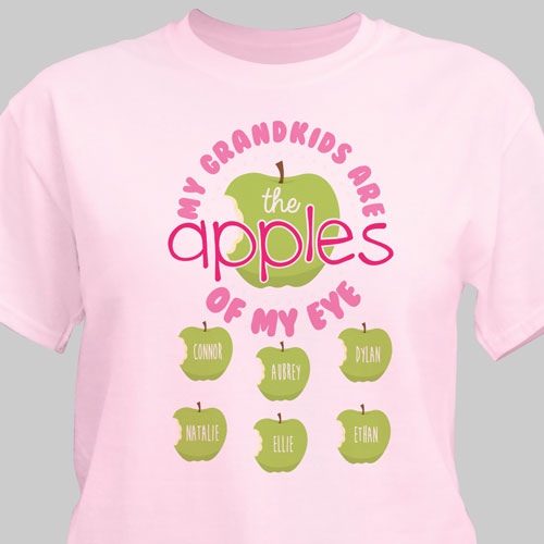 Personalized Apples Of My Eye T-Shirt | Personalized Grandma T Shirts