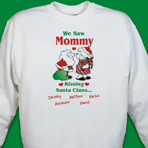 Kissing Santa Personalized Sweatshirt
