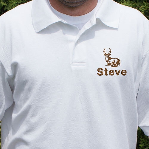 Embroidered Whitetail Deer Polo Shirt 924285X
