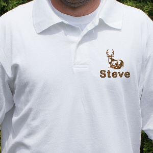 Embroidered Whitetail Deer Polo Shirt