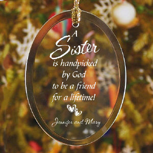 Personalized Sister Glass Ornament