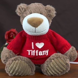 Embroidered I Love You Mocha Teddy Bear - 12