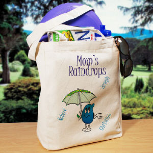 Raindrops Personalized  Canvas Tote Bag