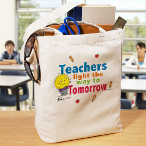 Light The Way Teacher Personalized Canvas Tote Bag