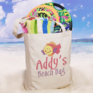Splish Splash Personalized Canvas Beach Tote Bag