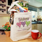 Hearts Strings Sisters Personalized Totebag