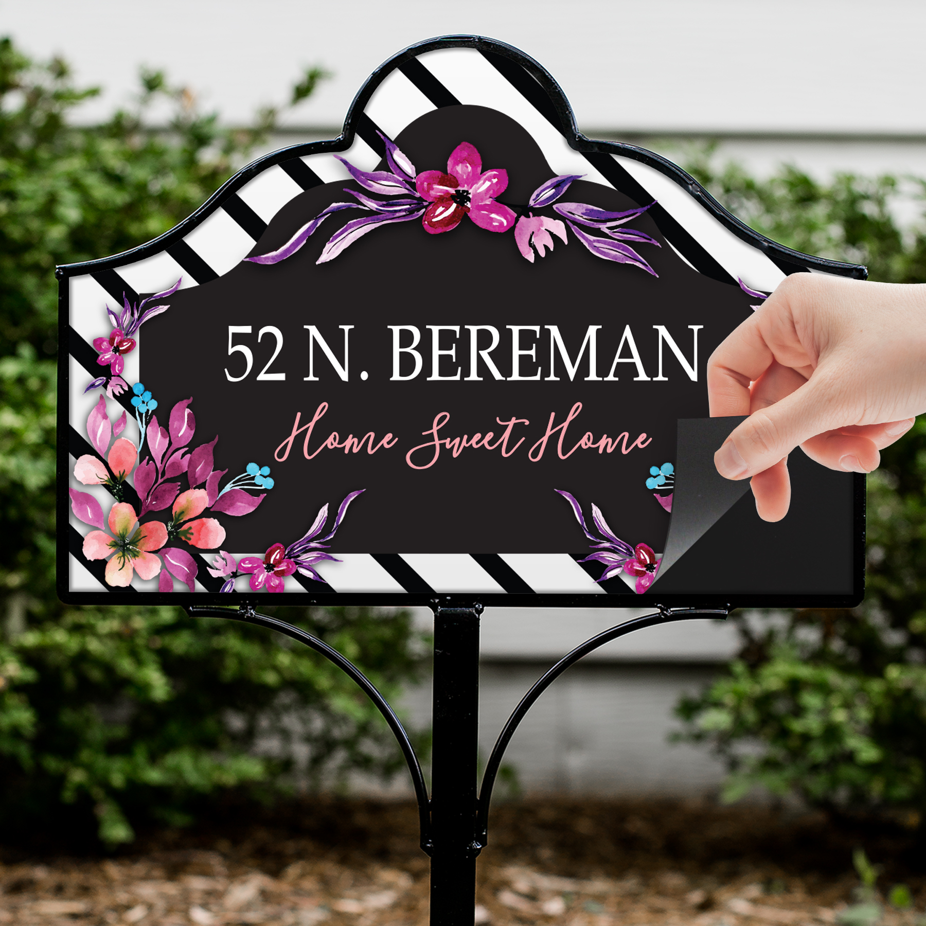 Personalized Vibrant Floral Magnetic Sign Set | Personalized Yard Signs