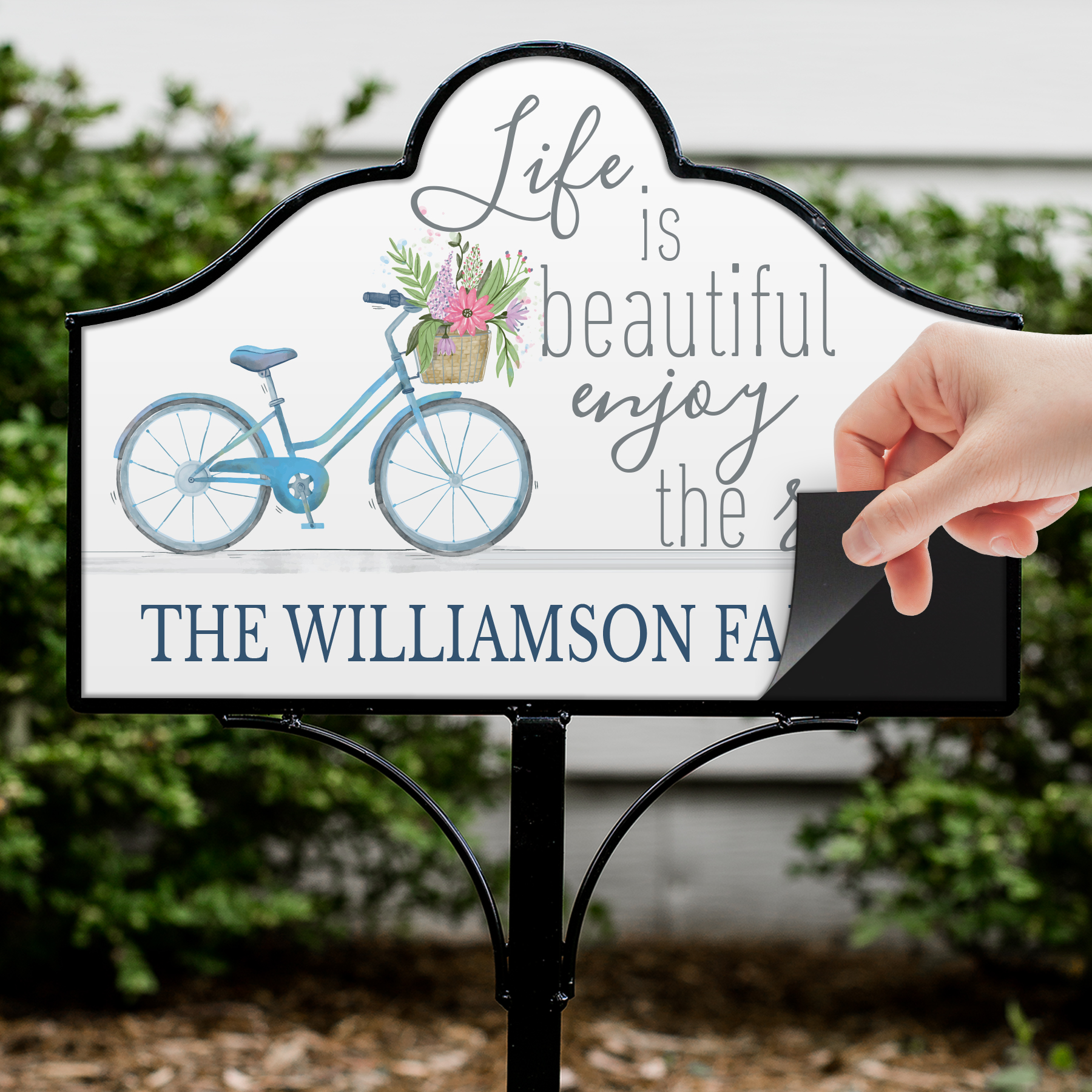 Personalized Life is Beautiful Magnetic Sign Set | Personalized Garden Signs
