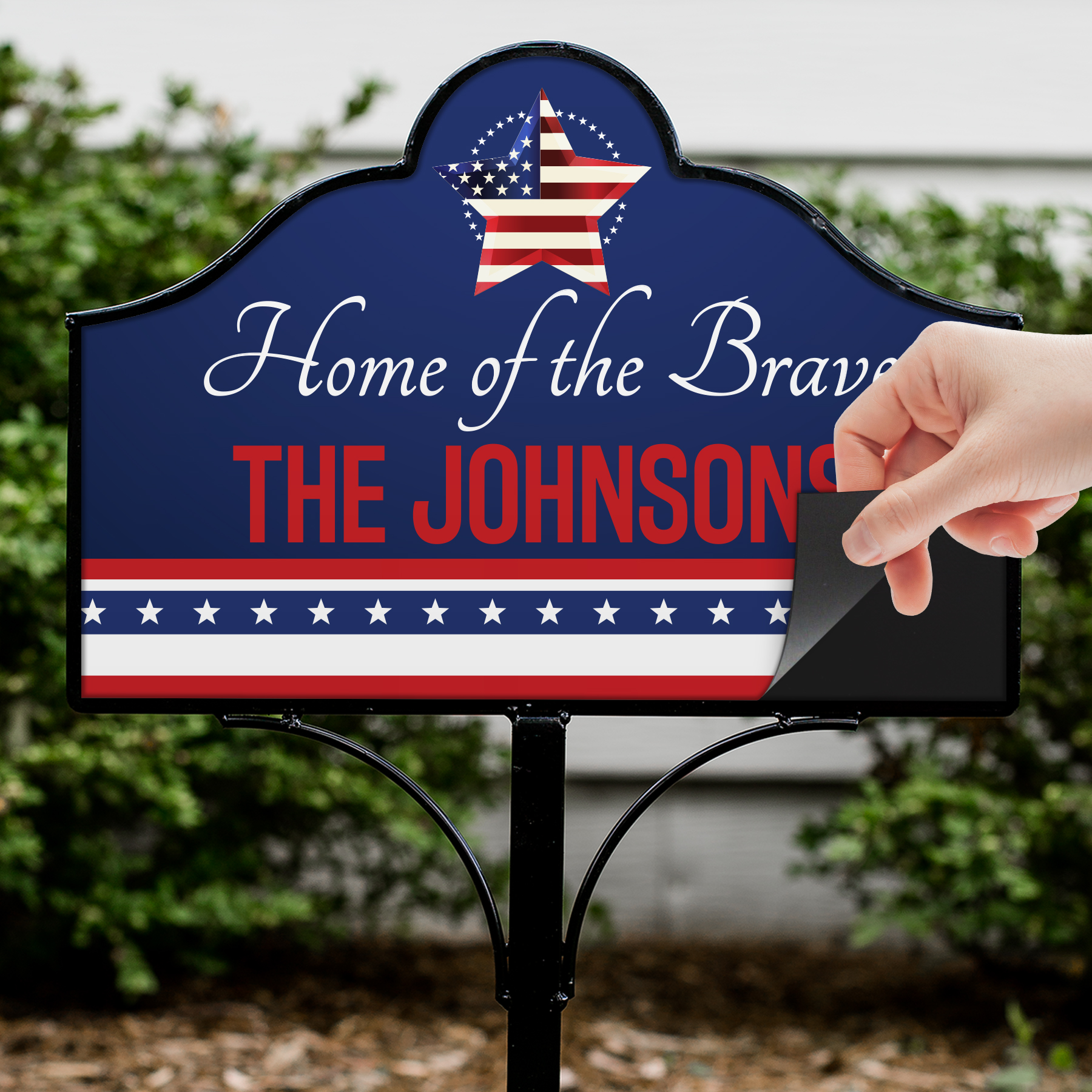 Personalized Stars and Stripes Magnetic Sign Set | Personalized Garden Signs