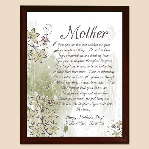 To My Mother Personalized Printed Plaque