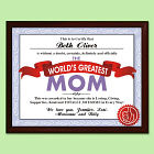 Worlds Greatest Mom Personalized Printed Plaque