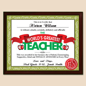 World's Greatest Teacher Personalized Printed Plaque | Personalized Teacher Gifts