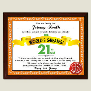 World's Greatest 21st Birthday Personalized Plaque