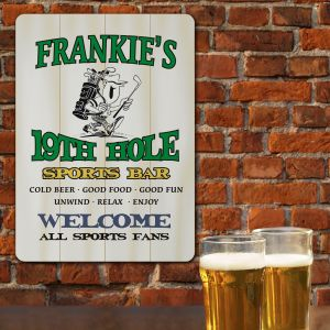 19th Hole Sports Bar Personalized Wall Sign