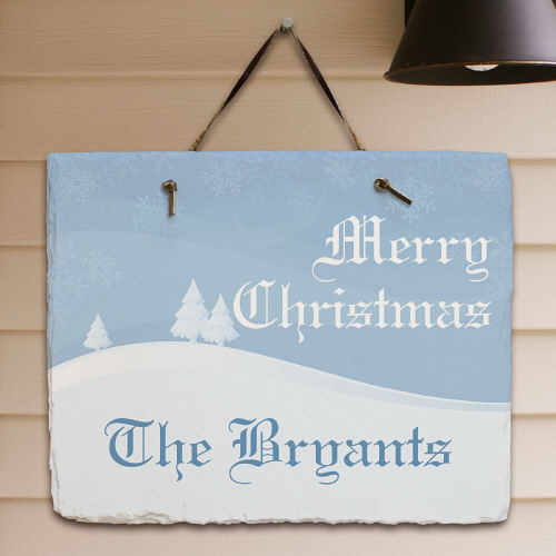 Personalized Merry Christmas Slate Plaque | Personalized Christmas Signs