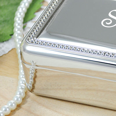Engraved Beaded Silver Jewelry Box | Personalized Bridesmaid Jewelry Gifts