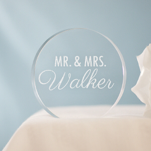 Engraved Mr & Mrs Cake Topper