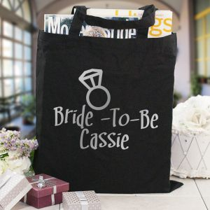 Bride-To-Be Personalized Black Canvas Tote Bag
