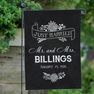 Personalized Just Married Garden Flag