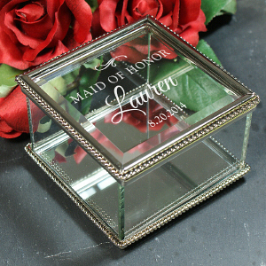 Engraved Wedding Party Jewelry Box | Personalized Bridesmaid Jewelry Gifts