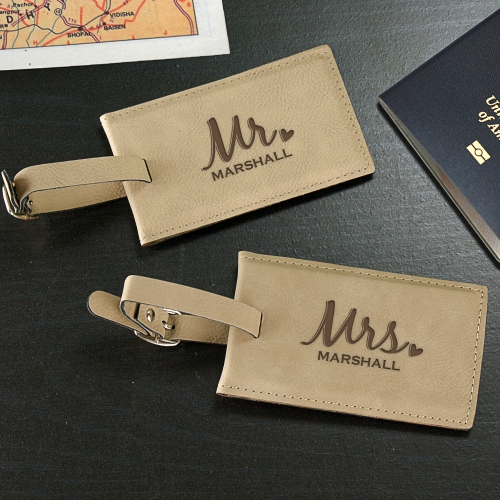 Engraved Mr. & Mrs. Leather Luggage Tag Set