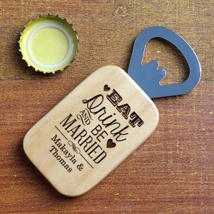 Engraved Newlywed Maple Bottle Opener L9516126