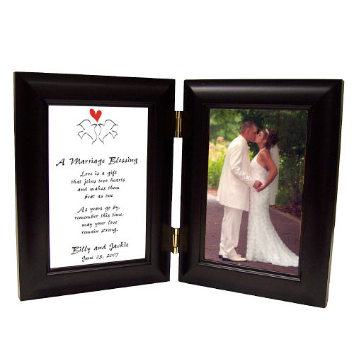 Marriage Blessing Wedding Black Bi-Fold Personalized Picture Frame | Personalized Picture Frames