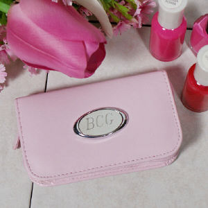 Pink Leather Personalized Manicure Set