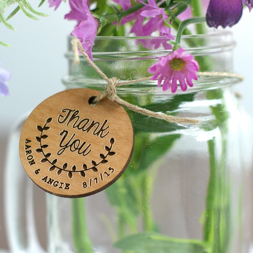Thank You Wood Favor Tags | Personalized Wedding Favors