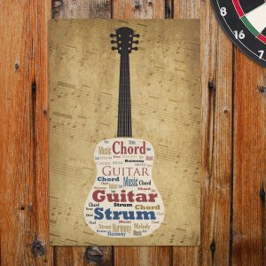 Acoustic Guitar Word-Art Wall Sign