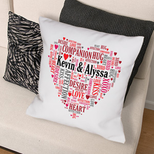 Couples Love Word-Art Throw Pillow