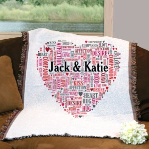 Couples Love Word-Art Afghan