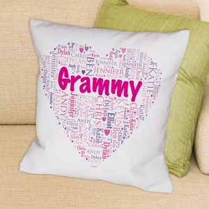 Grandma's Heart Word-Art Throw Pillow