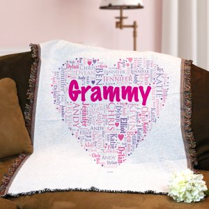 Grandma's Heart Word Art Tapestry Throw | Personalized Grandma Gifts