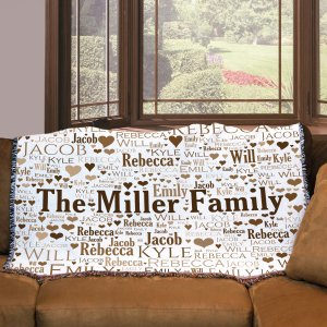 Personalized Family Word-Art Tapestry Throw