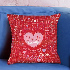 Couples Heart Initials Word-Art Throw Pillow