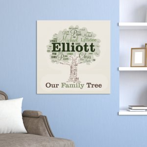 Family Tree Word-Art Canvas