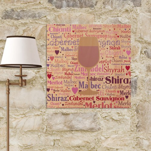 Personalized Red Wine Wall Canvas | Personalized Word Art