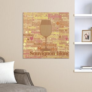 Rustic White Wine Word-Art Canvas