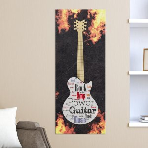 Electric Guitar Word-Art Canvas