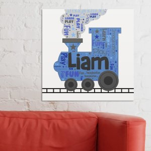 Kids' Train Word-Art Canvas
