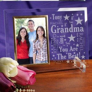 Grandma Word-Art Beveled Glass Picture Frame