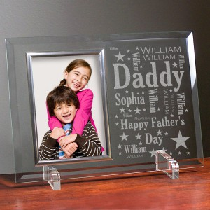 Daddy Word-Art Beveled Glass Picture Frame | Personalized Fathers Day Gift