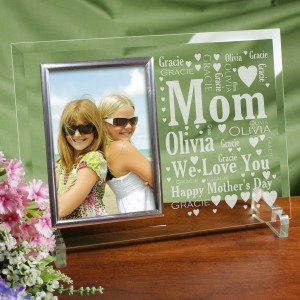 Mom Word-Art Beveled Glass Picture Frame