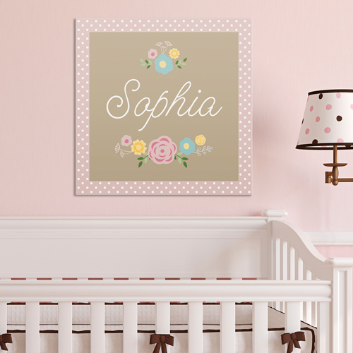 Personalized Baby Floral Canvas 91101464X