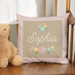Personalized Baby Floral Throw Pillow