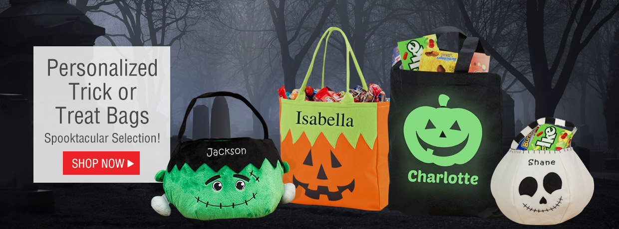 Personalized Trick or Treat bags and totes for all the halloween candy you can collect!