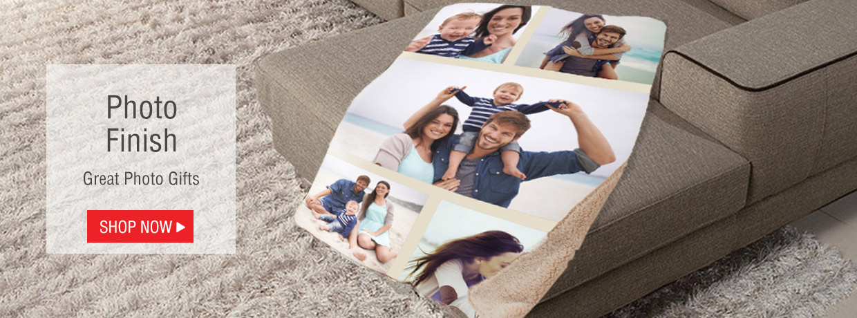 All New Personalized Photo Gifts including Sherpas, blankets, stockings, mugs, ornaments, stockings, and more