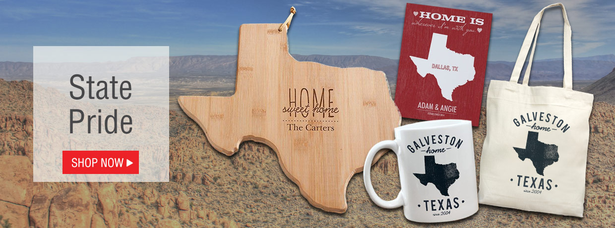 Personalized Gifts to celebrate your State Pride including Texas, Illinois, Michigan, Florida, North Carolina, Ohio, and more